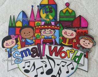 DISNEY It's a Small World Printed Scrapbook Page Paper Piece - SSFF