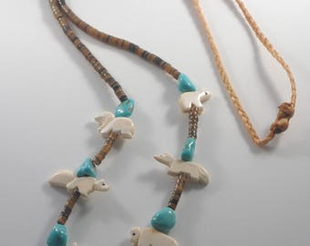 Vintage Native American Fetish Necklace Carved Bone Animals Turquoise Stones Heishi Beads Sinew