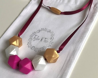 Silicone Teething Necklace, Kate, Nursing Necklace, Baby Shower Gift, Mothers Day, Pink, White Pearl, Gold