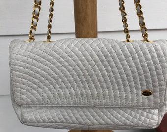 Vintage Bally White Quilted Crossbody Flap Handbag Purse