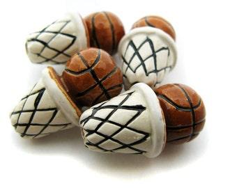 10 Basketball Beads (large) -