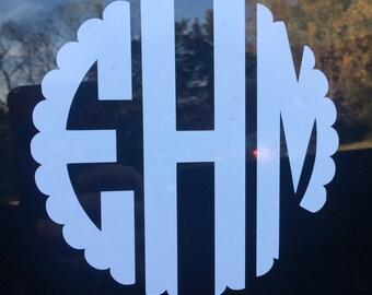 Monogram Car Decal Etsy - Circle monogram car decal