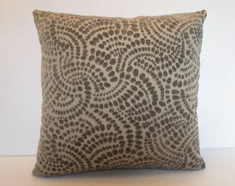 Geometric Pillow Cover with Swirled Dots in Gray / Gray Pillow / Home Decor Pillow / Accent Pillow / 18 x 18 Pillow