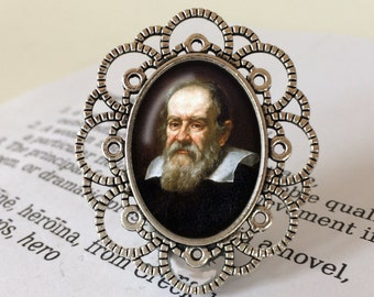 Galileo Brooch - Galileo Galilei Brooch in Antique Silver or  Bronze, Science Jewelry, Gift For Scientist, Physics Brooch, Galileo Jewellery