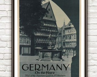 Vintage Poster of Germany, Travel Poster Tourism 1930-40
