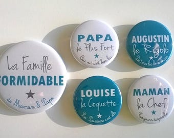 1 magnet 56 mm + 4 magnets 37mm customizable - the great family - grey blue duck
