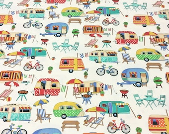 Nutex Patchwork Quilting Fabric - Get Away Caravans Camping on Cream
