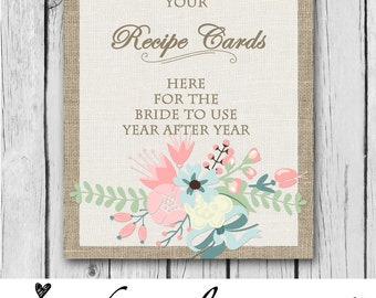 8x10 Print, Burlap Recipe Table Sign, Recipe Cards, Printable, Matching - Baby/Bridal Shower, Wedding, Party, Reception - INSTANT DOWNLOAD!