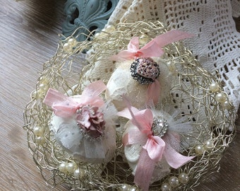 Victorian Easter Eggs - Decorative Easter Eggs - Ivory/Pink Easter Eggs