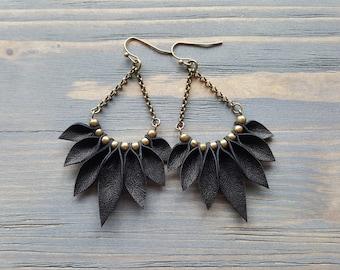 Black Leather Earrings, Boho Earrings, Bohemian Earrings, Statement Earrings, Long Dangle Earrings, Bronze Earrings, Statement Jewelry