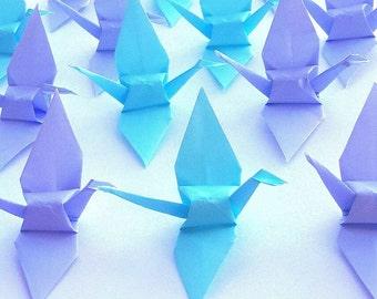 Wedding Origami Cranes Decoration (50) , Paper Cranes in Light Blue and Light Purple