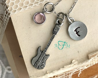 Electric Guitar Charm Necklace, Personalized Necklace, Silver Pewter Guitar Charm, Custom Necklace, Swarovski Crystal birthstone, monogram