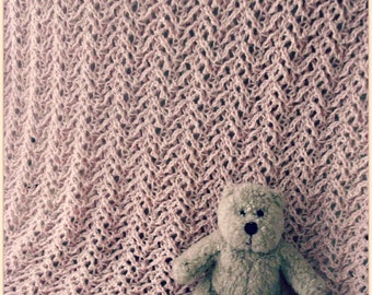 Download Now - CROCHET PATTERN Knit-Look Lace Baby Blanket - Pattern PDF