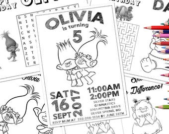 Trolls Coloring Pages, Trolls Birthday Party favor, Trolls Party Activity, Trolls Movie Personalized Coloring