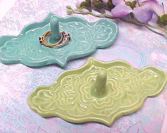 Art Deco Ring Holder Design | Lace Imprint Ring Dish | Pottery Gift for Mom, Sis, Gigi, Gaga | Turquoise Blue or Sage Green Glaze