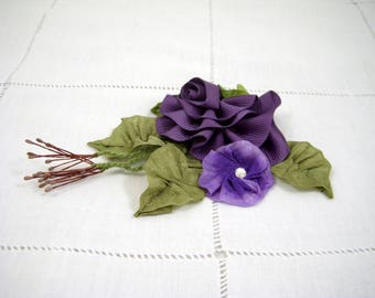 Ribbonwork Ribbon Flower Accessory, Hair Clip, Corsage - Purple Violet, Rayon and Grosgrain, Rhinestone, Died Ribbon