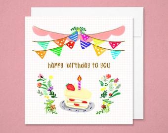 Cards - happy birthday cake / Happy birthday card
