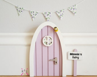 Fairy door with personalised signpost. Lilac with fabric floral miniature bunting -tooth fairy -mouse door -girls gift -girls room -elf door