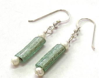 Roman Glass Bead Earrings, Roman Glass Earrings & Freshwater Pearls, Roman Glass Dangle Earrings, Israel Artisan Jewelry, Boho Earrings