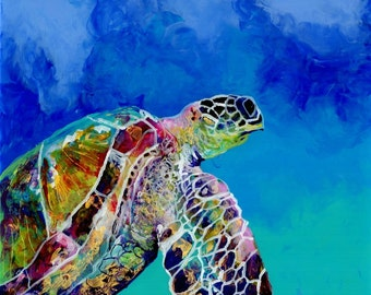 Sea Turtle art prints, Honu print, Hawaiian art, Kauai art prints, Hawaii painting, Hawaiian honu turtles, turtle ocean art, sea turtle