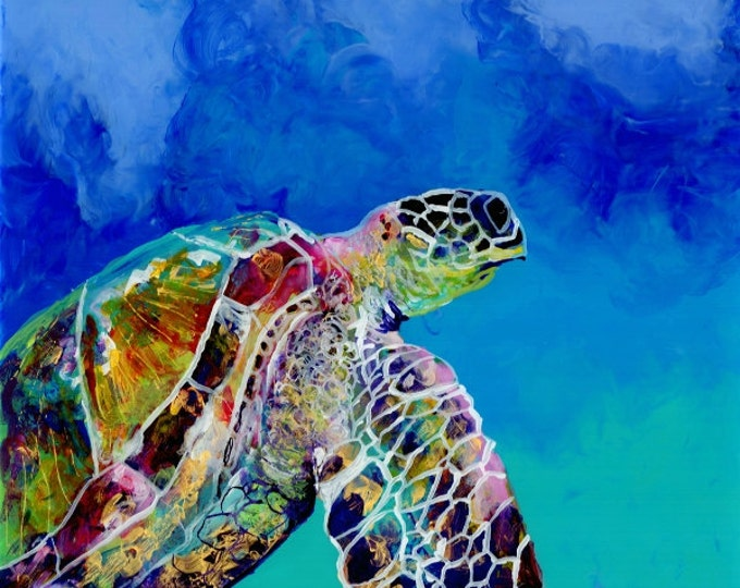 Sea Turtle art prints, Honu print, Hawaiian art, Kauai art prints, Hawaii painting, Hawaiian honu turtles, turtle ocean art, sea turtle