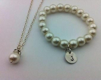 Flowergirl initial bracelet and elegant necklace gift set -  weddings, flowergirl jewelry, blue, navy blue