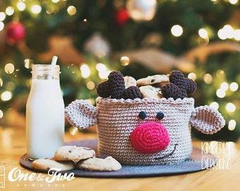 Reindeer Basket - PDF Crochet Pattern - Instant Download - Container Home Decor Basket Box animal