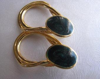 Vintage Teal Hoop Earrings - Teal Hoop Stud Earrings - Goldtone Posts