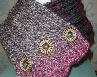 Knitted Buttoned Neck Warmer, Cabled Neck Scarf, Wool Neck Scarf, Wool Neck Warmer, Pink and Grey Neck Warmer, Handknitted Scarf, Neckwarmer