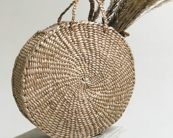 Straw bag, Straw handbag, Straw basket, Beach bag, Straw tote, Circul bag, Round Bag, Summer bag