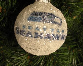 Seattle Seahawks glass glitter ornament