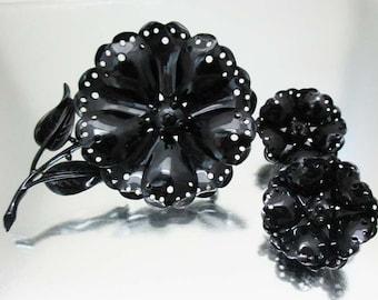 Large Black Baked Enamel Large Flower Brooch Pin & Earrings NOS Unused