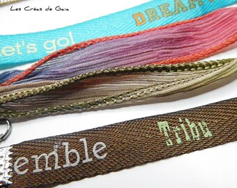 1 x set of ribbons for bracelet, fitting tip crocodile - silk and synthetic