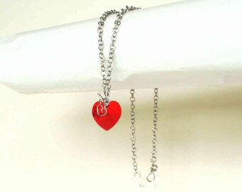 "Red Heart Necklace Swarovski Crystal Heart Stainless Steel Necklace Red Crystal Steel Chain Necklace 18"" Handmade Hand Made"