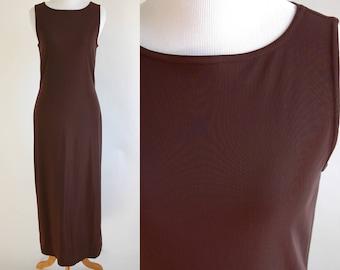 90s Brown Sleeveless Maxi Dress - Simple Brown Full Length Tank Dress - Slinky Brown Dress - Stretchy Nylon - Long Brown Dress - Medium