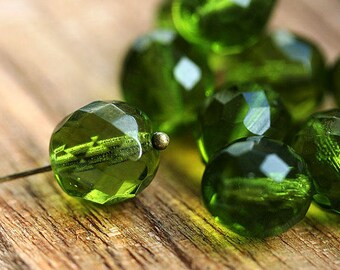 12mm Olive Green Fire polished czech glass beads, large round faceted ball beads - 4Pc - 2056