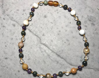 """13"""" All The Feels // little kid big emotions // empathic // healing // cleansing // hand knotted gemstone childrens necklace //"""