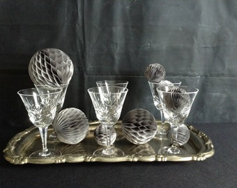 Vintage Crystal Toasting Glasses and Silver Plated Serving Tray