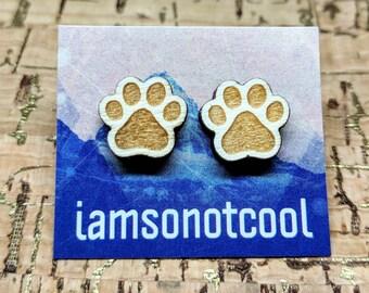 Wood Paw Earrings - Wood Stud Earrings / Laser Cut Wooden Puppy Paw Studs / Walnut Wood Earrings / Hypoallergenic / Dog Earrings