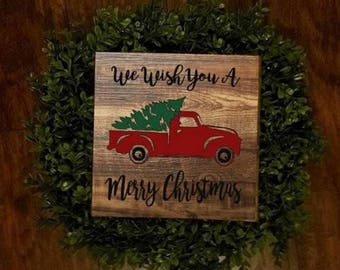 Red Truck Christmas Sign, We wish you a Merry Christmas