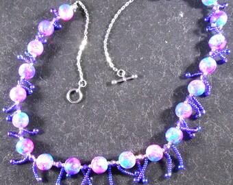 Necklace - Purple & Blue Glassbeeds with fringes