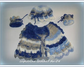 Baby set baby/jacket/top/shoes/Hat/set / crochet/gift birth 1/3 months/set is hand crocheted wool