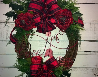 Valentines Day Wreath, Front Door Valentines Wreath, Valentines Day, Valentines Door Decor, Buffalo Plaid, Red Peonies, Decorative Wreath