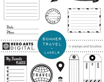 Hero Arts Summer Travel Labels DK105  Digital Kit Instant Download