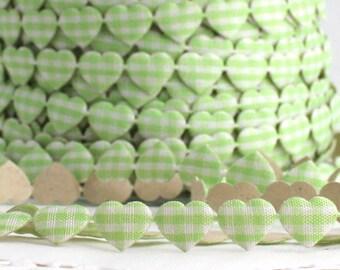 "Green Gingham Heart Stick on Ribbon Trim, 3/8"" wide, Adhesive Ribbon"