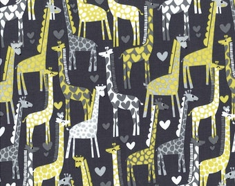Giraffe Love Gray by Michael Miller - Yellow - Quilting Cotton Fabric - choose your cut