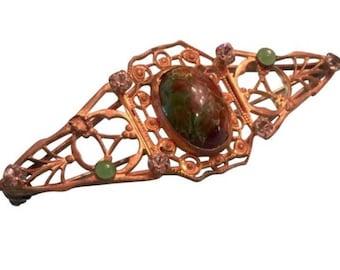 Vintage Gold Filagree Marble Green Stone & Rhinestone Pin Brooch