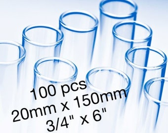 100 Glass Tubes- 20mm x 150mm