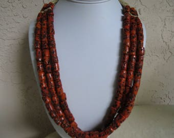 Tibetan Bead Necklace - Hand Crafted Coral Glass Beads - Ethnic Jewelry