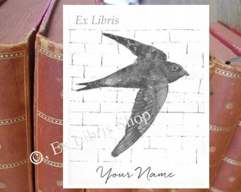 "Bookplate stickers ""Swift"", personalised ex libris, custom bookplate, custom exlibris, personalised bookplate stickers, bookplates, 224"